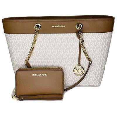 Michael Kors Shania Large Vanilla MK Signature Tote + Luggage Phone Wallet