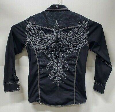 ROAR Mens Size Sm Black Embroidered Long Sleeve Button Up Shirt