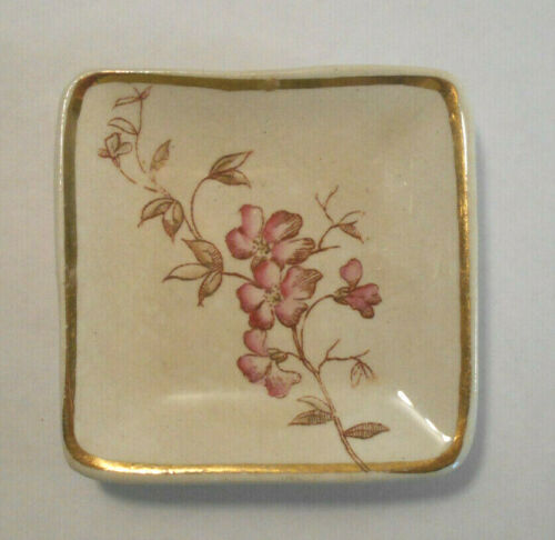 Antique Cherry tree blossom flowers Transfer Ware Butter Pat Square Plate