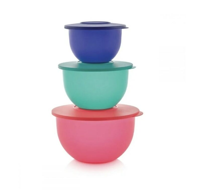 New TUPPERWARE Impressions Classic 3 Bowl Set  FREE US SHIPPING