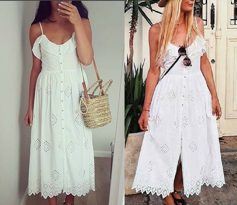 official shop save up to 60% how to find Details about ZARA LACE PERFORATED EMBROIDERY CROCHET WHITE STRAPPY MIDI  SUMMER DRESS uk 6 XS