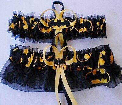 Batman Fabric Logo Superhero Wedding Garter Set Bat Man Prom (Superhero Wedding)