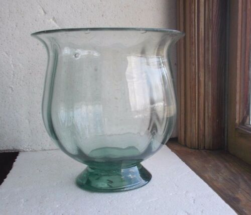 PONTILED HAND BLOWN COPY OF EARLY AQUA LARGE FOOTED BOWL POSSIBLY CLEVENGER?