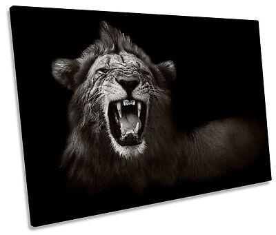 (Lion Roar Mono B&W CANVAS WALL ART SINGLE Picture Print)