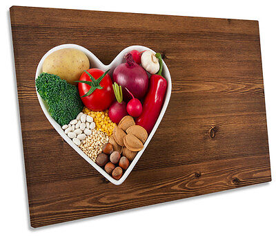 Single Heart Bowl (Vegetables Heart Bowl Kitchen CANVAS WALL ART Picture Print)