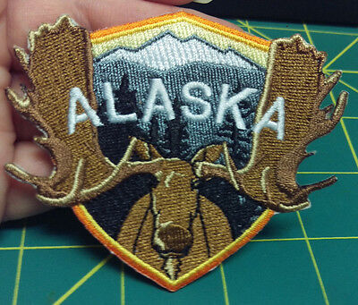 New Alaska Shield shape Patch with Moose and mountains - Embroidered Moose patch