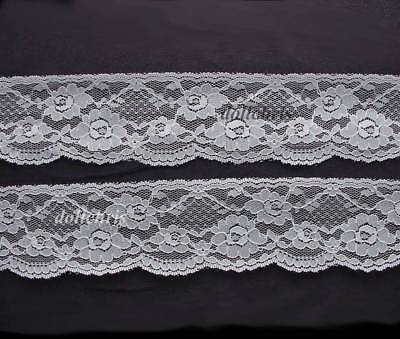 Lace Trim 2.5 inch Wide 6 yards White 2 inch Scallops Sewing Dolls Crafts Lot 77