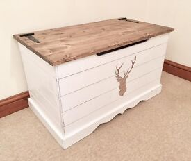Handmade Country Chic Pine STAG Ottoman-Medium Size-FREE DELIVERY