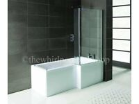 Shower screen for l shaped bath only brand new never opened fits left and right hand l shaped bath