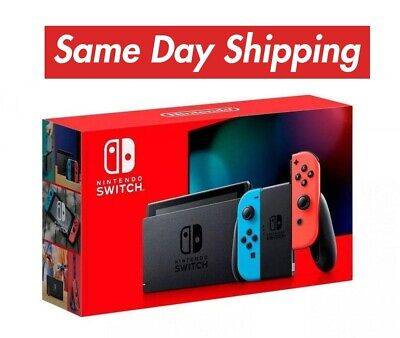 NEW NINTENDO SWITCH 32GB CONSOLE Neon Red/Blue Joy-Cons V2 🚚 SHIPS SAME DAY 🚚