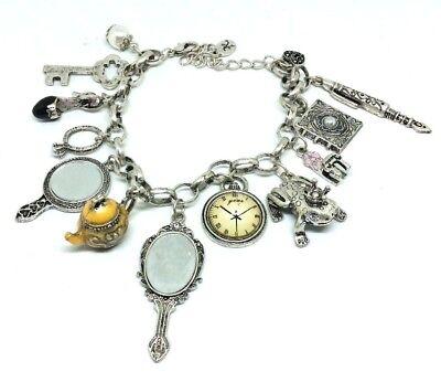 Fairy Tale Charm Bracelet Princess Alice Mirror Clock Teapot Key Book Vintage
