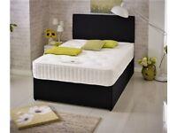 "*NEW* 4ft 6"" Double BLACK DIVAN BED BASE + HEADBOARD + DRAWER OPTIONS + 1000 Pocket Sprung Mattress"
