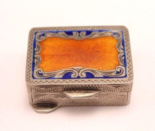 Italian 800 Silver Blue Orange Guilloche Enamel Engraved Pill Box