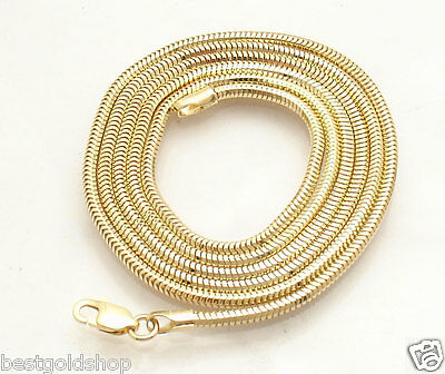 1.9mm Solid Round Snake Chain Necklace Real 14K Yellow Gold ALL LENGTHS 14k Gold Round Snake Chain