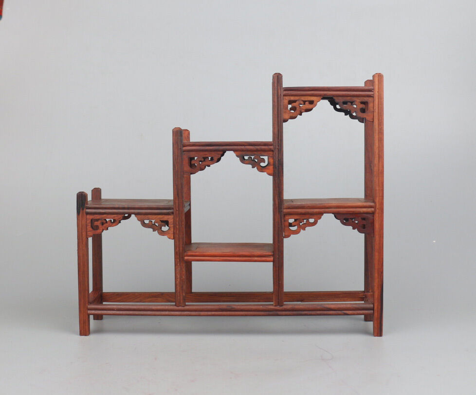 red suan-zhi hard wood shelf China put small curio rosewood carved display stand