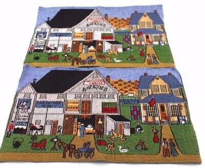 Jacquard Tapestry Placemats Set  2 Victorian Antique Store Figural Village Scene