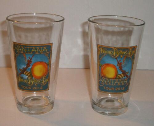 Allman Brothers Carlos Santana 2012 Tour Set of 2 Pint Beer Glasses **Rare