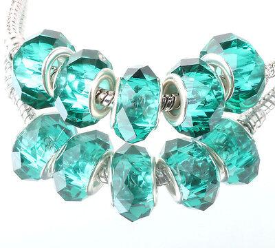 5pcs silver spacer beads fit Charm dark blue crystal European Bracelet DIY B#359
