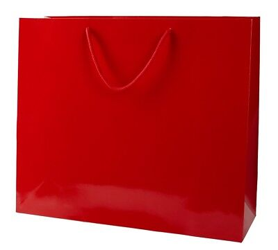 5 RED GLOSS BOUTIQUE PAPER CARRIER BAGS WITH ROPE HANDLES (LARGE) 41CM WIDE