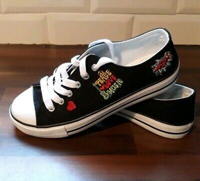 Używany, VTY Deichman Shoes Ladies Canvas Trainers Sneakers Love & Peace Size 5  na sprzedaż  Wysyłka do Poland