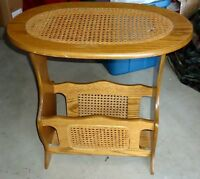 Vintage Wicker, Wooden Magazine Rack End Table