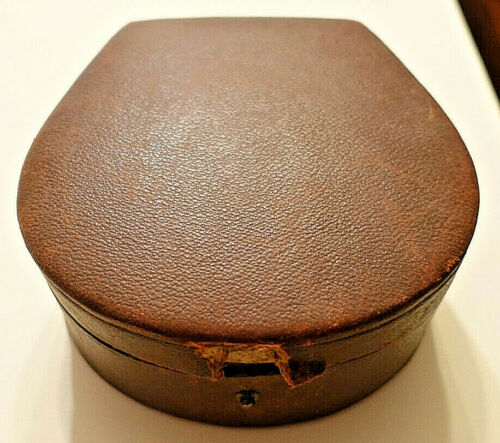 Antique BRITISH LEATHER TREEN COLLAR BOX w/INSIDE WELL FOR STUDS (Included)