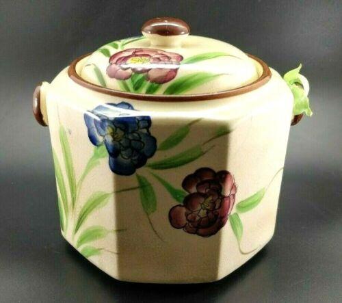 Vintage Hand Painted Floral Ceramic Biscuit Cookie Jar Japan