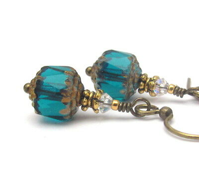 TEAL BEADED EARRINGS CZECH GLASS CRYSTAL VINTAGE EDWARDIAN DANGLE DROPS BRASS
