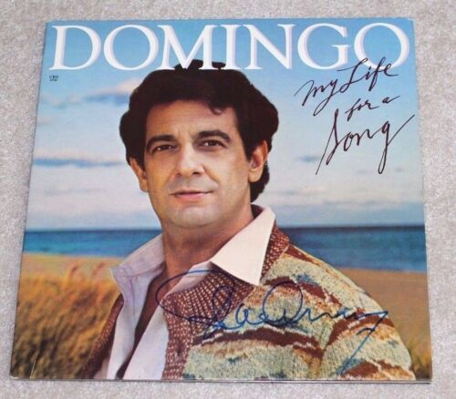 PLACIDO DOMINGO SIGNED MY LIFE FOR A SONG ALBUM VINYL RECORD W/COA PROOF