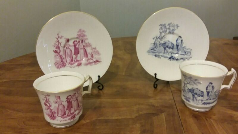 "Pink/Blue Toile Set of 2 Royal Chelsea Teacups Saucers "" Shepherd"" & Dairymaid"""