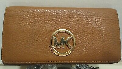 MICHAEL KORS Brown Leather Clutch Wallet Organizer Credit Card Holder (C21)