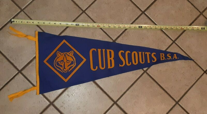 """Vintage Cub Scouts Pennant BSA Boy scouts of america Felt Banner 30"""" old ANTIQUE"""