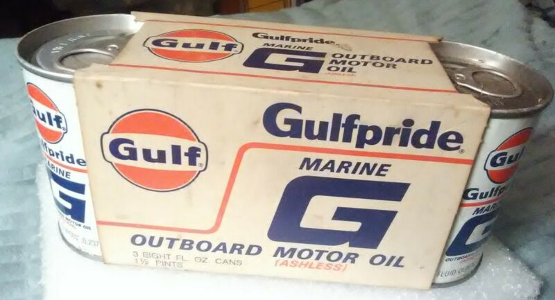 Gulfpride Marine G Outboard Motor Oil 3pk NOS Cans