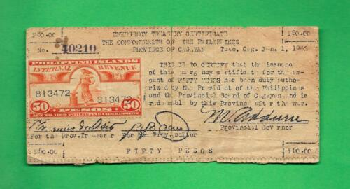 PHILIPPINES 1942 (ND) FIFTY PESO CAGAYAN CURRENCY W/ REVENUE STAMP S-171a