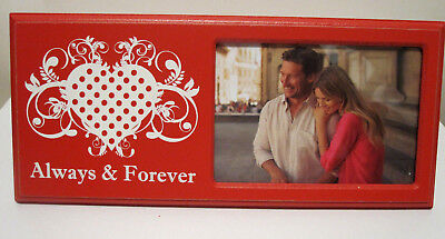 Red White Love ALWAYS & FOREVER With HEART Design  3.5x5