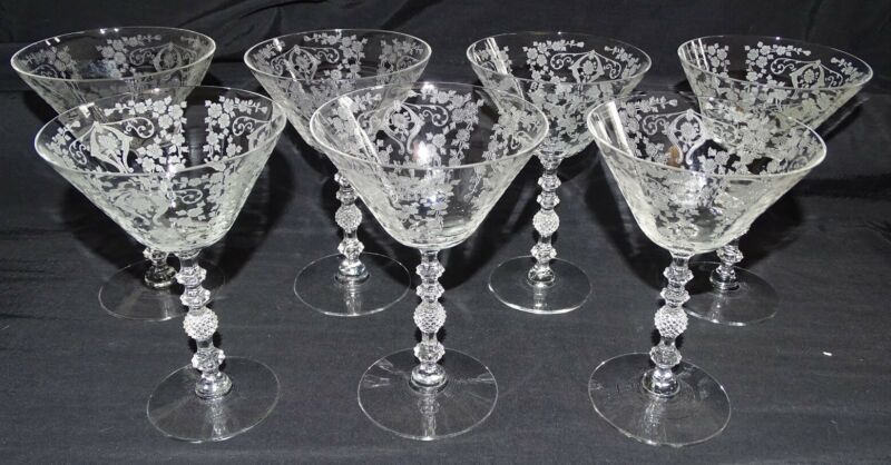 "Cambridge USA Diane 7 Sherbet / Saucer Champagne Stems - 6 1/4"" Stem 3122 Etched"