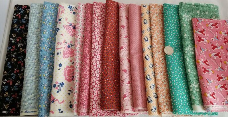 Reproduction Feedsack LOT 12 Fat Quarters Fabric Cotton