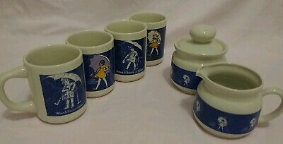 Vintage Morton Salt Umbrella Girl 4 mugs/creamer/sugar (7 pc) set *NO DEFECTS!