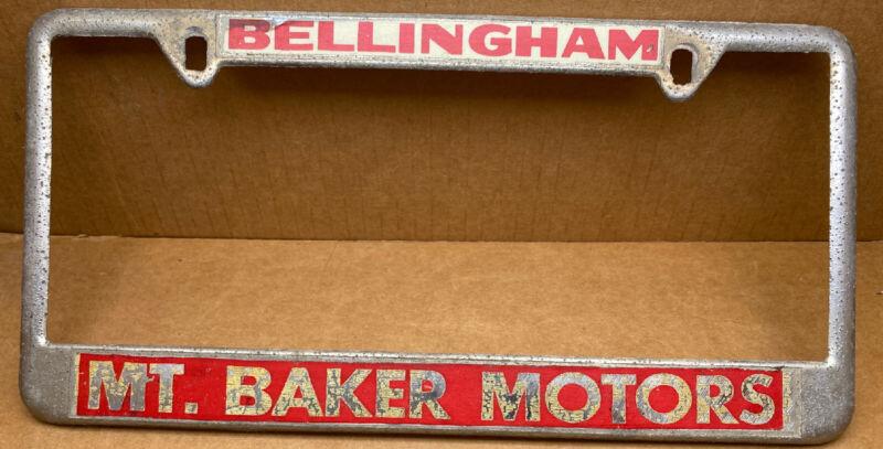 RARE MT. BAKER MOTORS ( BELLINGHAM WASH. )LICENSE PLATE FRAME