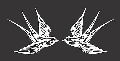 Two Barn Swallows Birds 390 - Die Cut Vinyl Window Decal/Sticker for Car/Truck