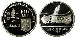 Romania-100-lei-1998-KM-140-NAGANO-OLYMPIC-BOBSLED-silver-coin-UNC-PROOF