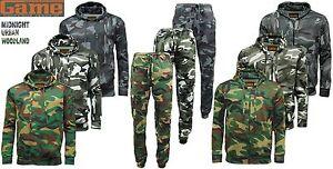 Hombres-Juego-Militar-Camuflaje-Polar-Chandal-Con-Capucha-Cremallera-Pantalon-De