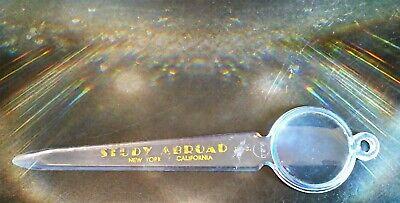 "Vintage 6"" Advertising Plastic Letter Opener & Magnifying Glass ~ USA ~"