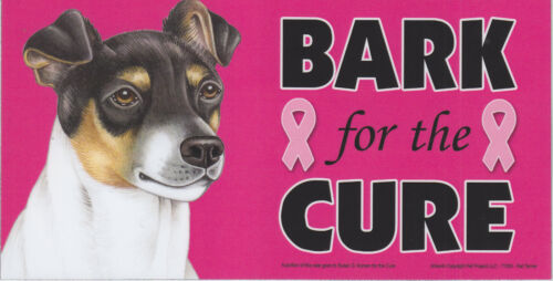 Rat Terrier BARK for the CURE Pink Ribbons Breast Cancer car MAGNET 4X8 USA MADE