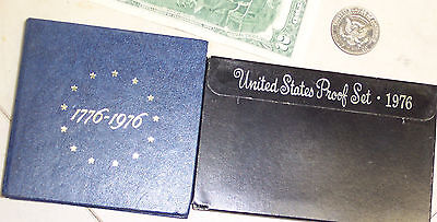 Lot 2 Proof Sets July 4 1776 200 Bicentennial USA 40% silver Coins & $2 Bill