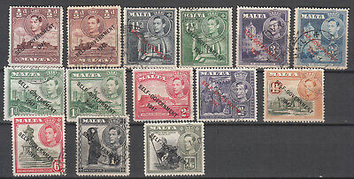 Malta - 1948 KGVI overprinted stamp lot  (7612)