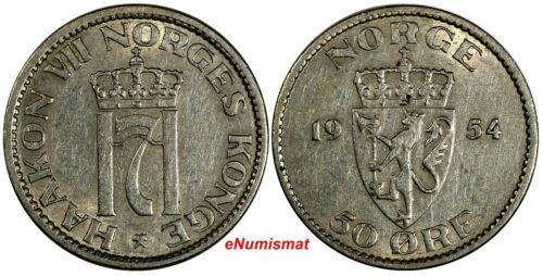 NORWAY Haakon VII 1954 50 Ore RARE DATE Mintage-230.000 Lion KM# 402