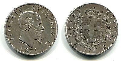 5 Lire Italien 1871 Silber