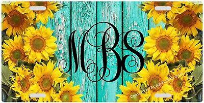 Sunflower Monogram License Plate, Novelty, Vanity, Custom (Custom Novelty License Plate)