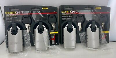 4 Pack Stanley S828-152 Cd8820 Shrouded Hardened Steel Padlock 4 Locks 8 Key